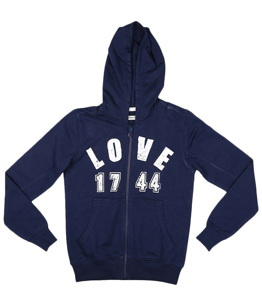 Allen Solly Navy Blue & White Zippered Hooded Sweatshirt