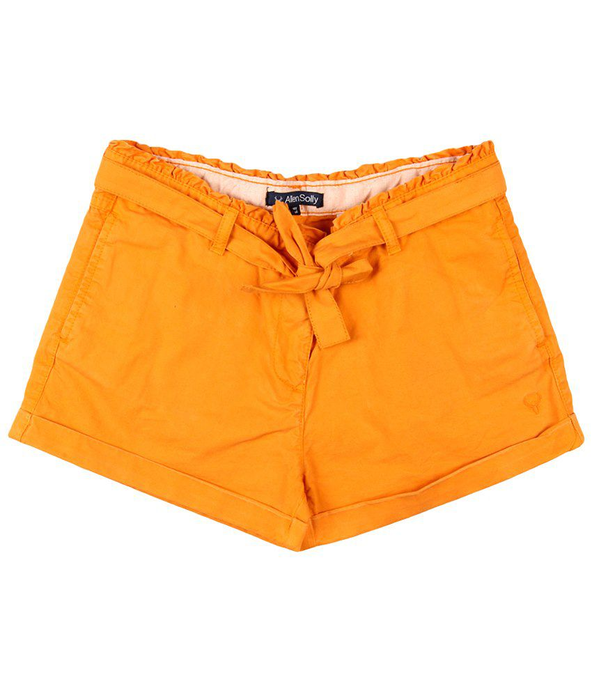 Allen Solly Orange Cotton Shorts