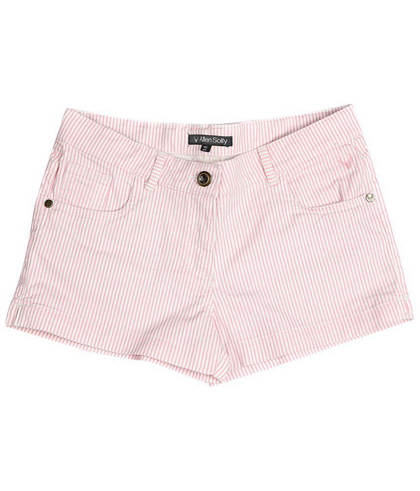 Allen Solly Pink & White Cotton Shorts