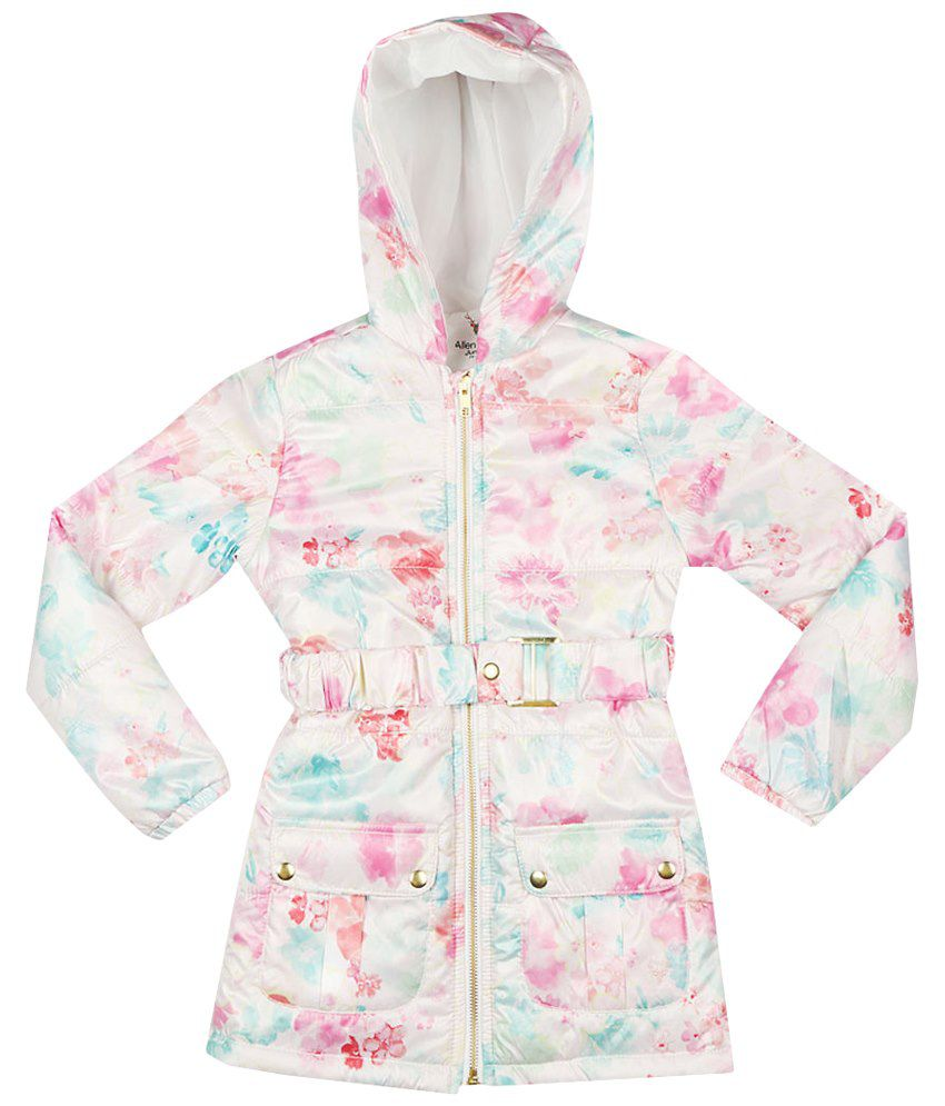 Allen Solly White & Pink Full Sleeve Quilted Jacket