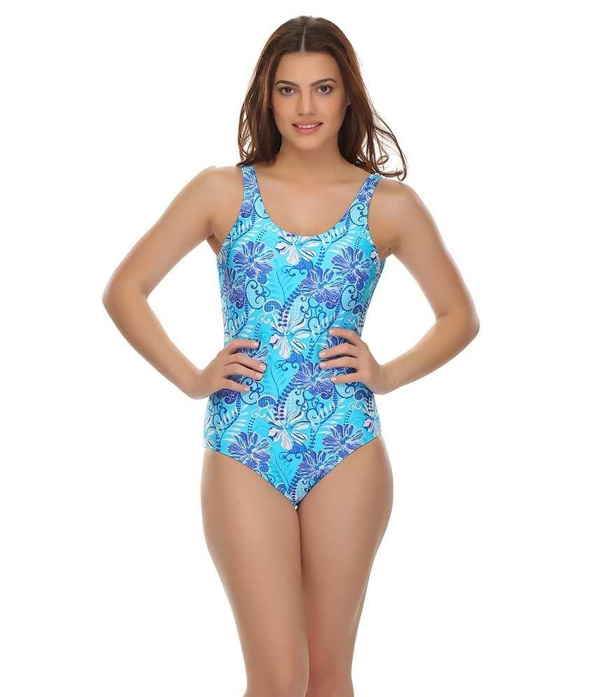Clovia Sexy V-shape Swimsuit In Sky Blue/ Swimming Costume