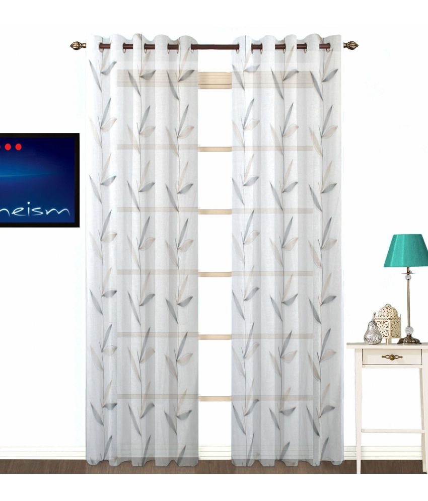 Fabutex Set Of 2 Door Sheer Curtains Printed White