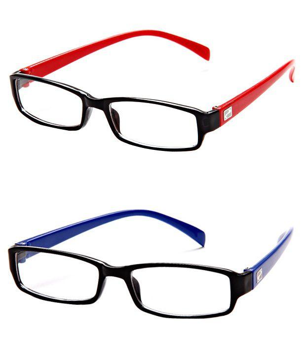 MagJons Blue & Red Rectangle Unisex Eyeglasses Frame - Combo of 2