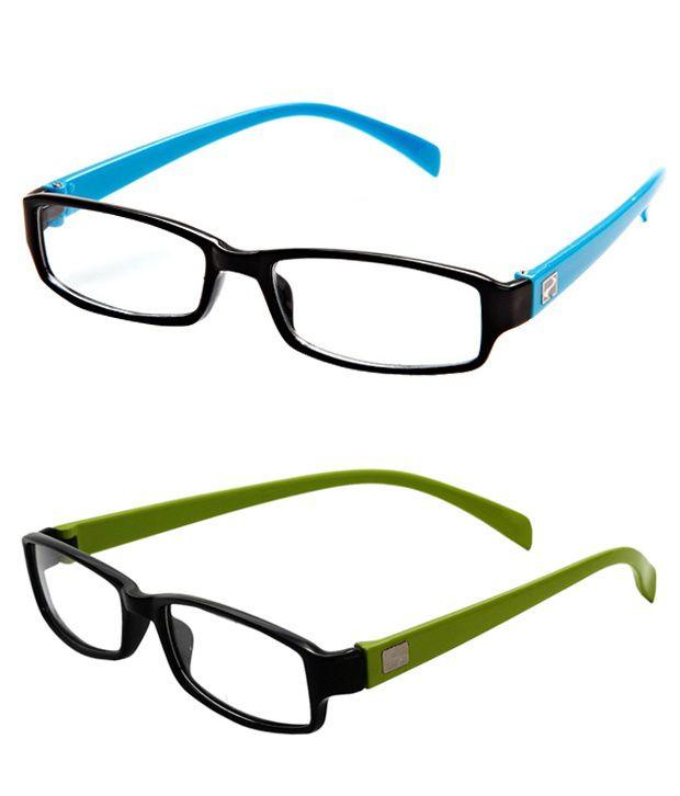 MagJons Light Blue & Green Rectangle Unisex Eyeglasses Frame - Combo of 2
