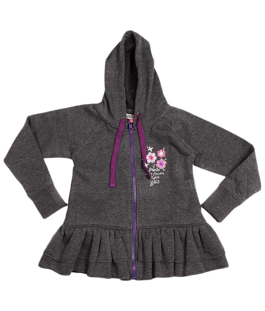 People Gray & Purple Zippered Hooded Sweatshirt