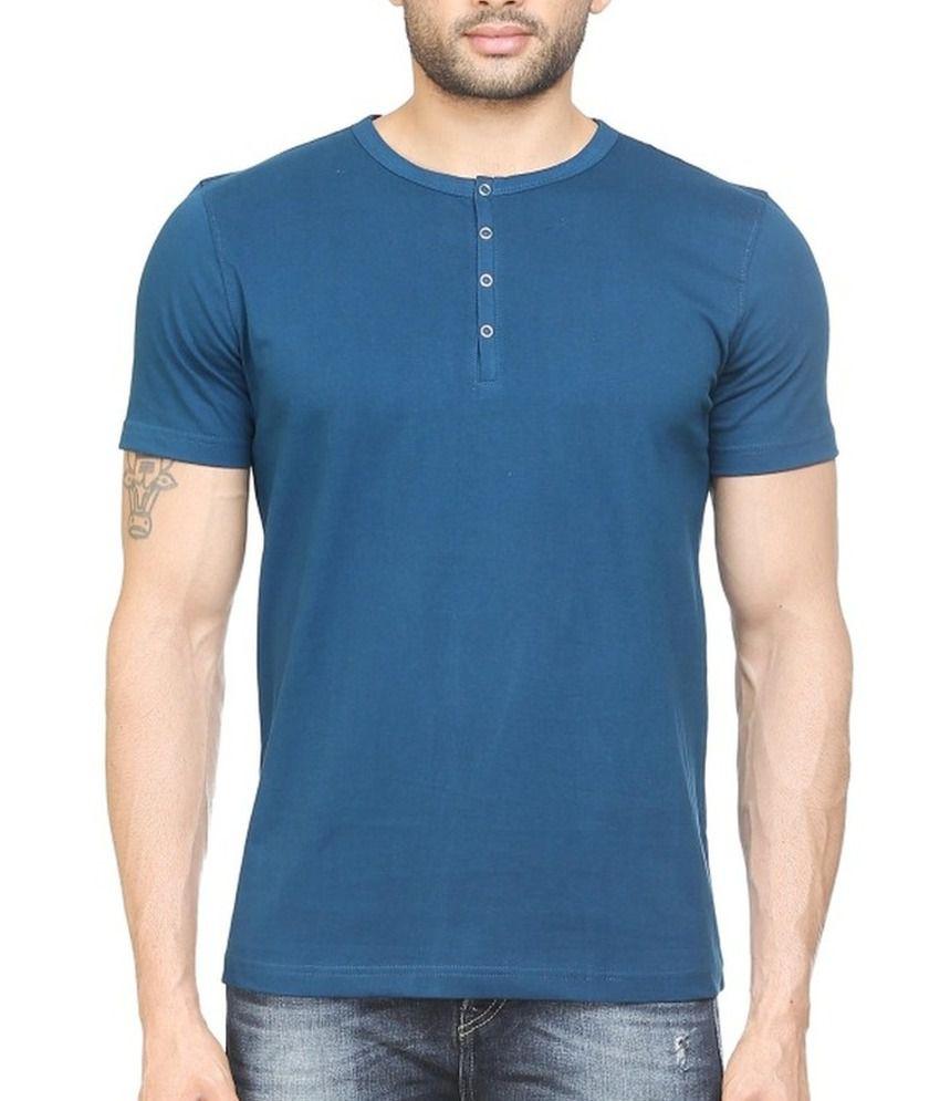 Poshuis Blue Solid Men's Henley T-Shirt