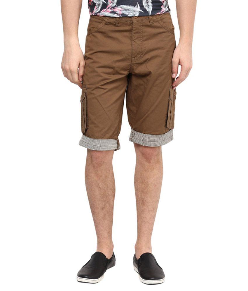 Urban Navy Brown Cotton Solid Shorts