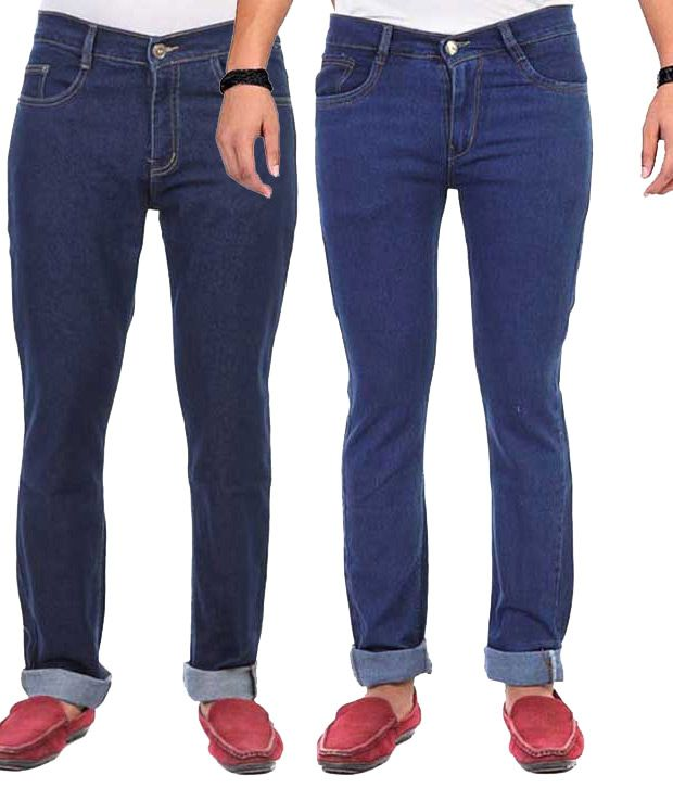 AVE Blue Regular Fit Jeans - Pack Of 2