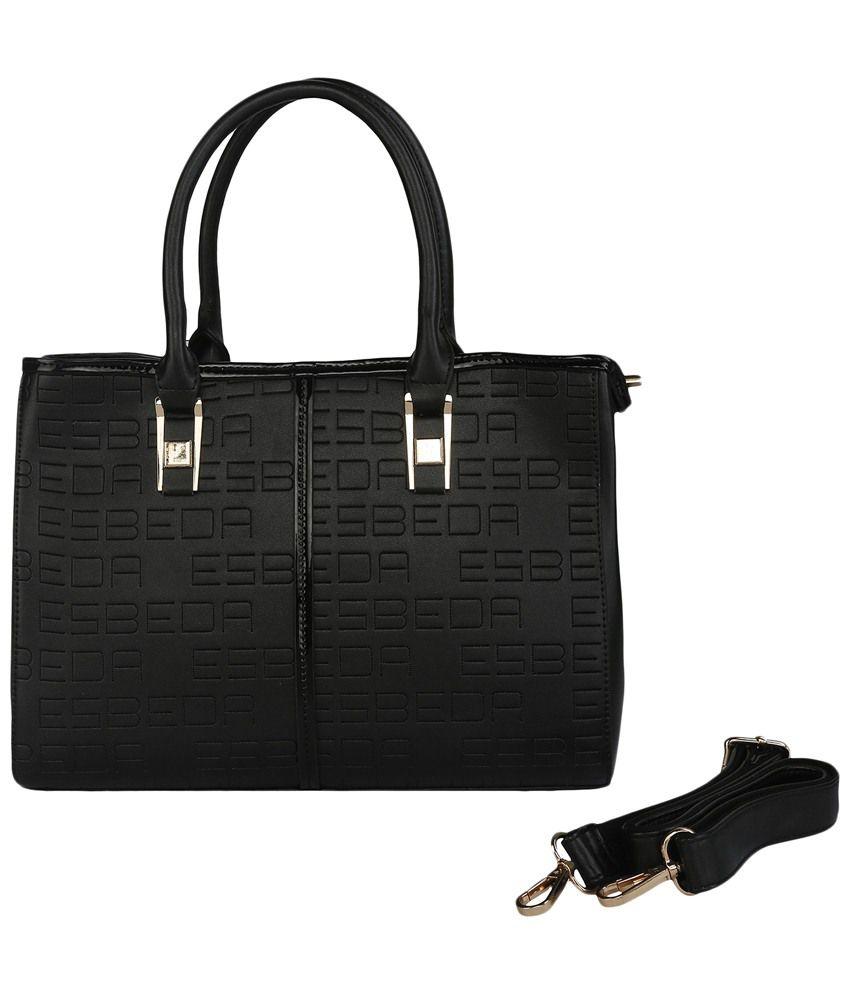 Esbeda Black Zippered Satchel Bag