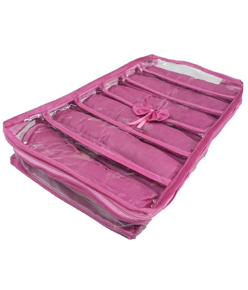 Addyz Pink Satin 6 Rods Bangle, Bracelet ,Watch Case Jewelry Box