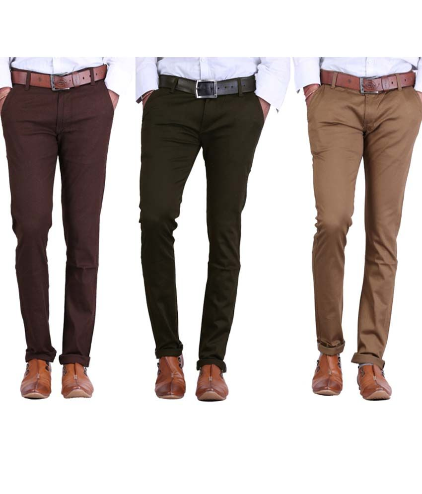 Ansh Fashion Wear Multicolor Regular Fit Casuals Chinos - Pack Of 3