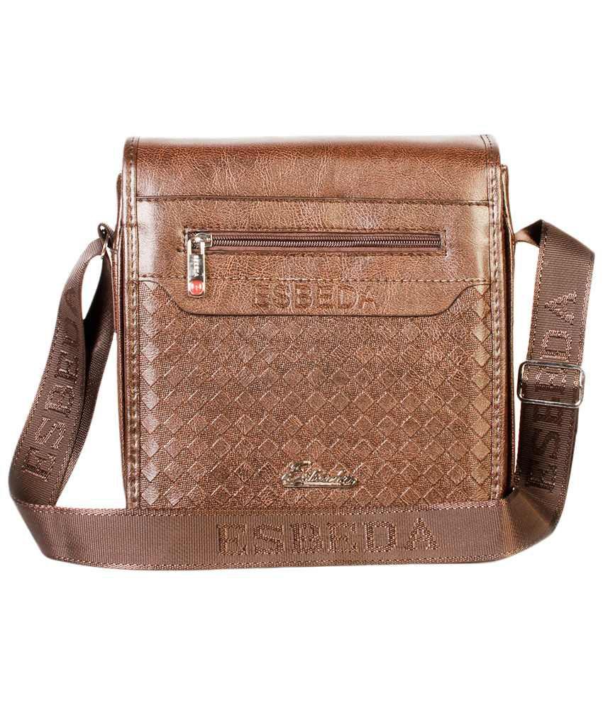 ... Esbeda Brown PU Sling Bag for Men ...