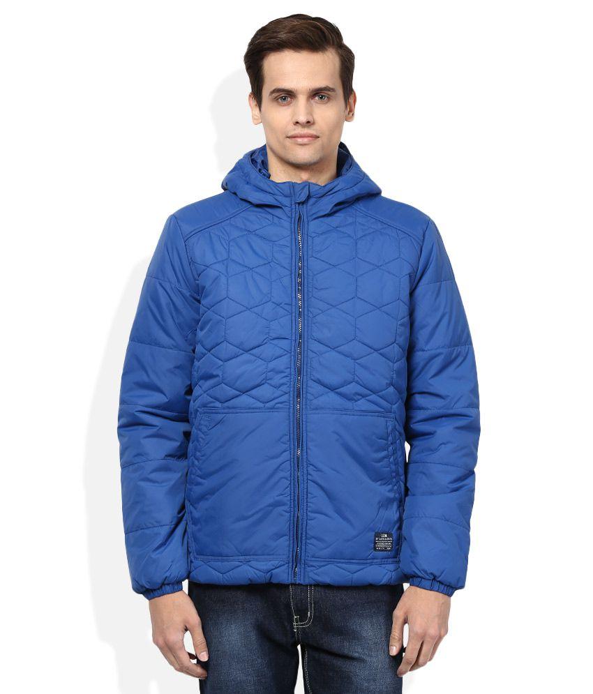 Jack & Jones Blue Full Sleeves Winter Jacket