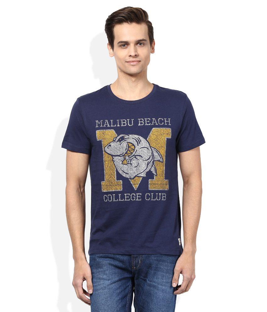 Jack & Jones Navy Round Neck Half Sleeves Printed T-Shirt