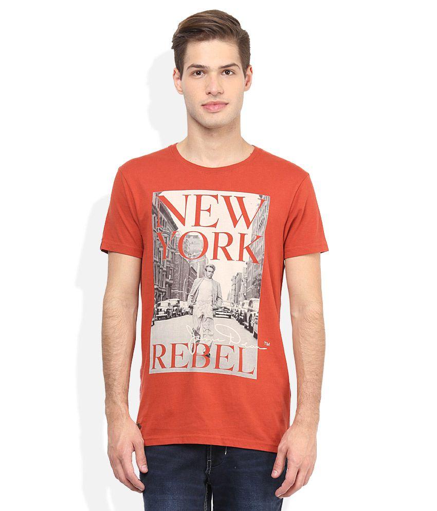 Jack & Jones Red Round Neck Half Sleeves Printed T-Shirt