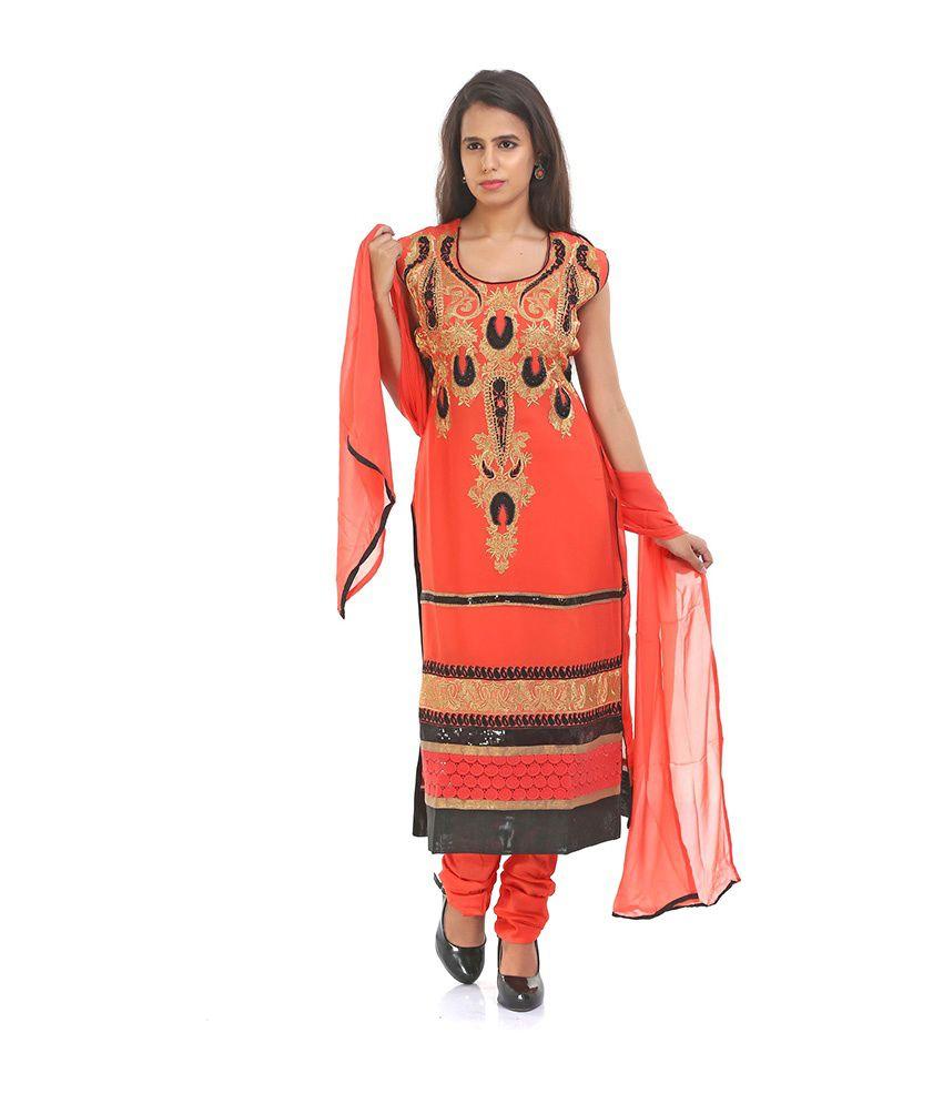 Raro Fashion Orange Faux Georgette Stitched Suit