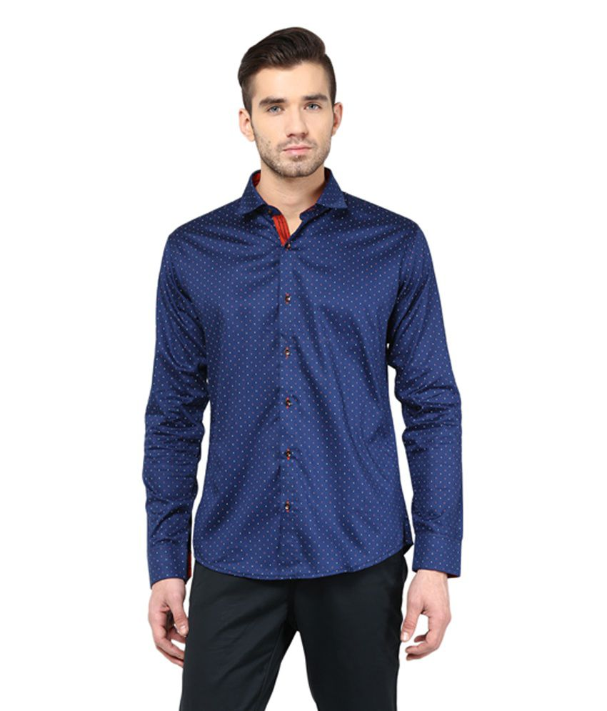 Invern by monteil navy blue cotton printed shirt buy for Navy blue shirt online