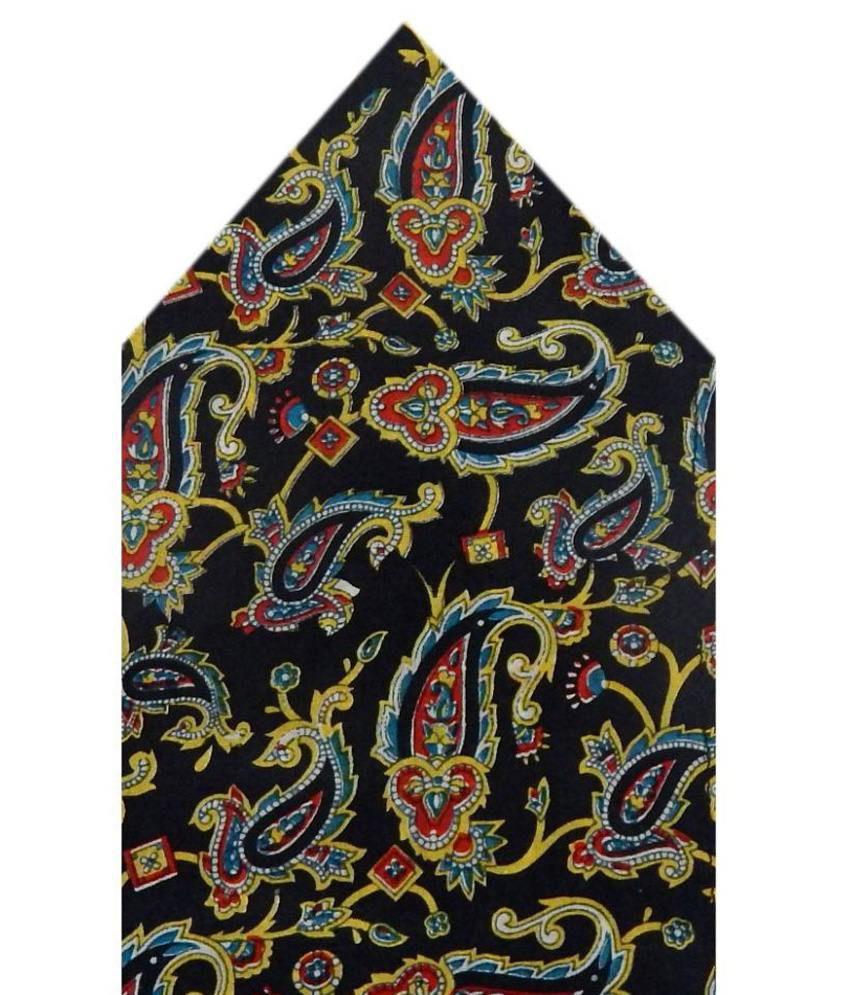 Navaksha Black Silk Pocket Square
