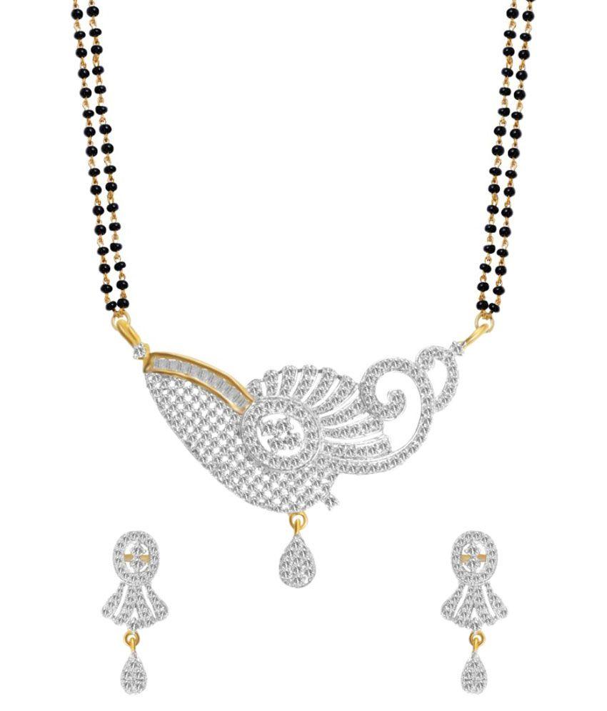 Youbella Just Like Diamonds Silver Daily Wear Mangalsutra Set