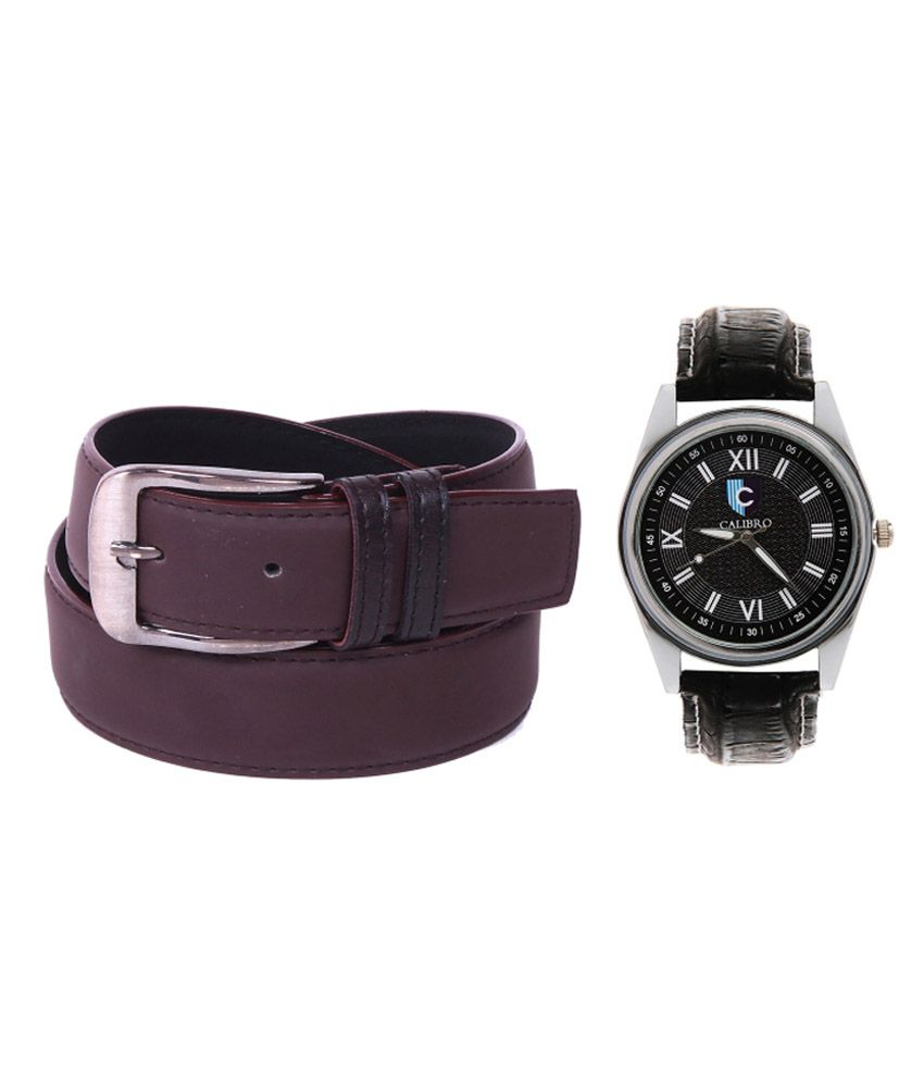 Calibro Combo Of Brown Formal Belt And Watch For Men