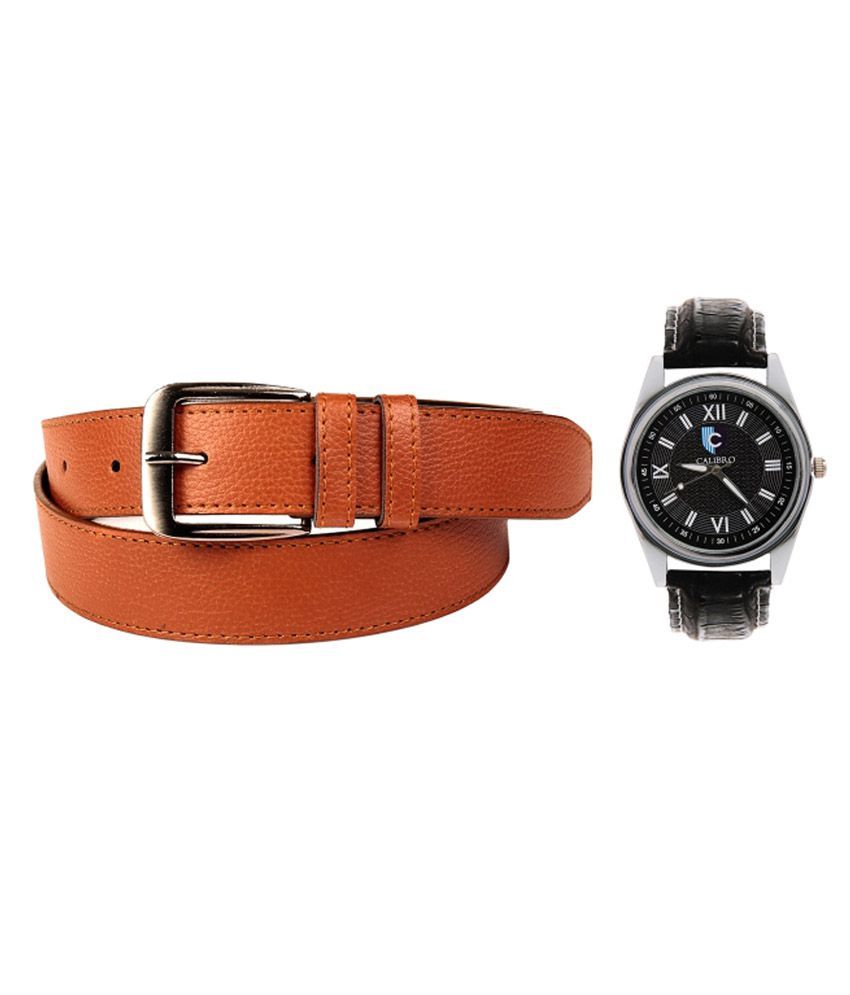 Calibro Combo Of Tan Formal Belt And Black Watch For Men