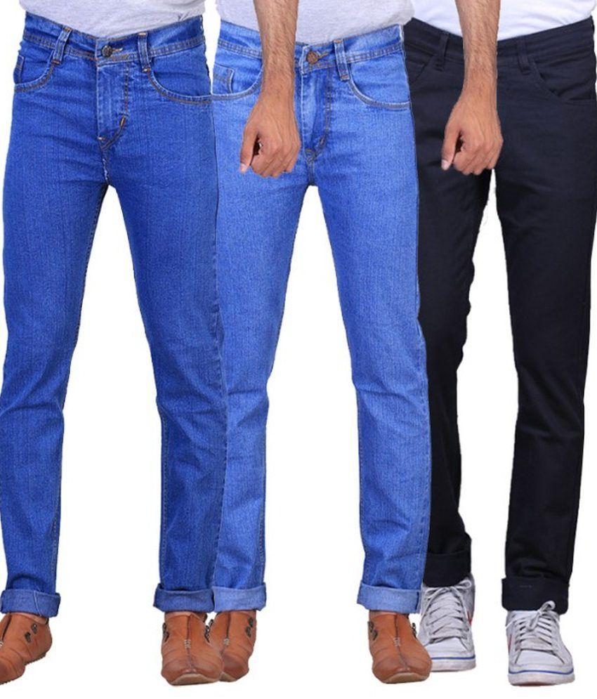 NE Multicolour Regular Fit Jeans - Pack Of 3