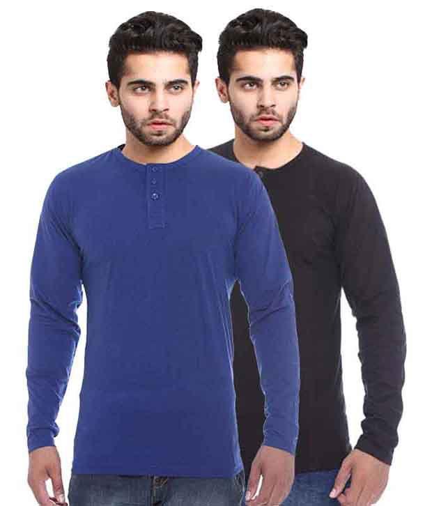 X-cross Black And Blue Cotton T-shirt - Set Of 2