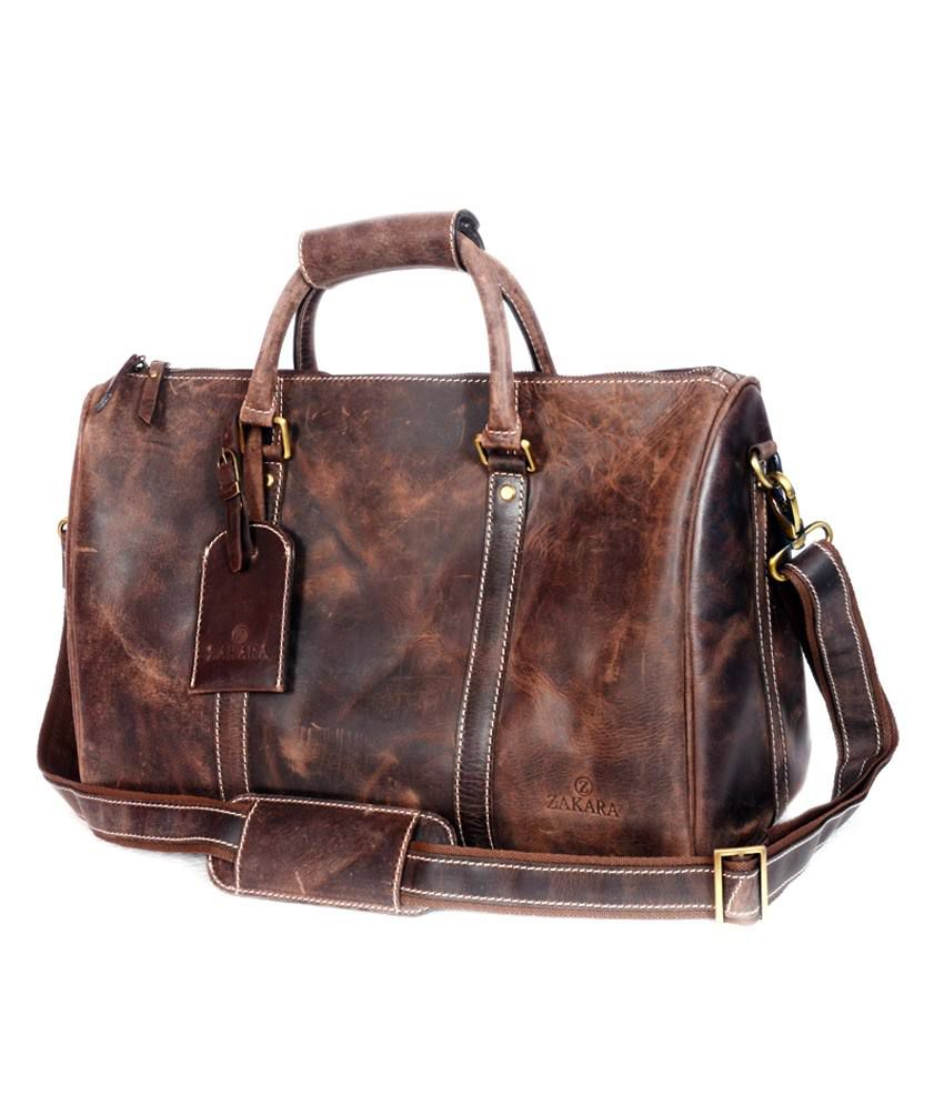 Zakara Brown Leather Travel Bag