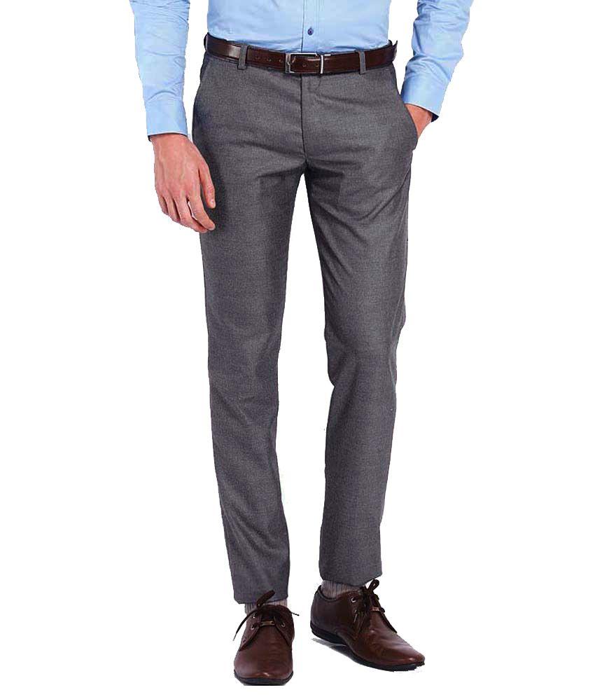 AD And AV Grey Regular Fit Formal Flat Trouser