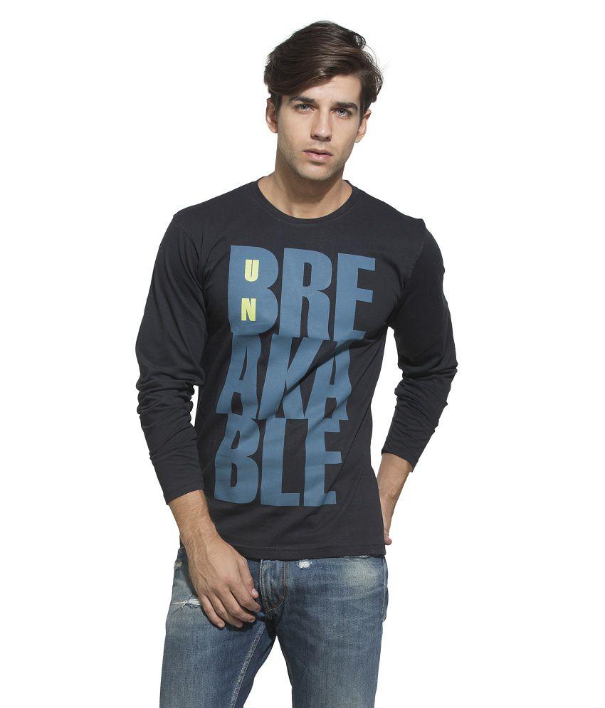 Alan Jones Black Printed Full Cotton Tshirt
