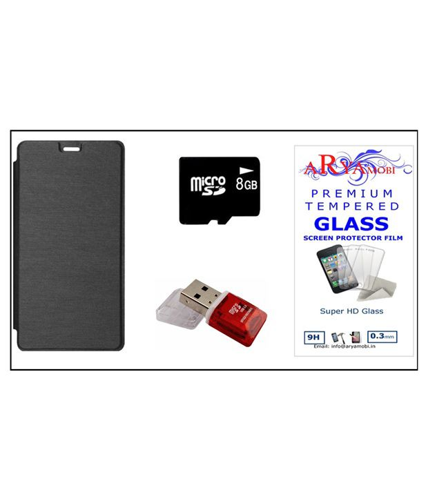 Aryamobi Flip Cover with Tempered Glass, 8GB Memory Card and Card Reader for Intex Cloud 4G Star - Black