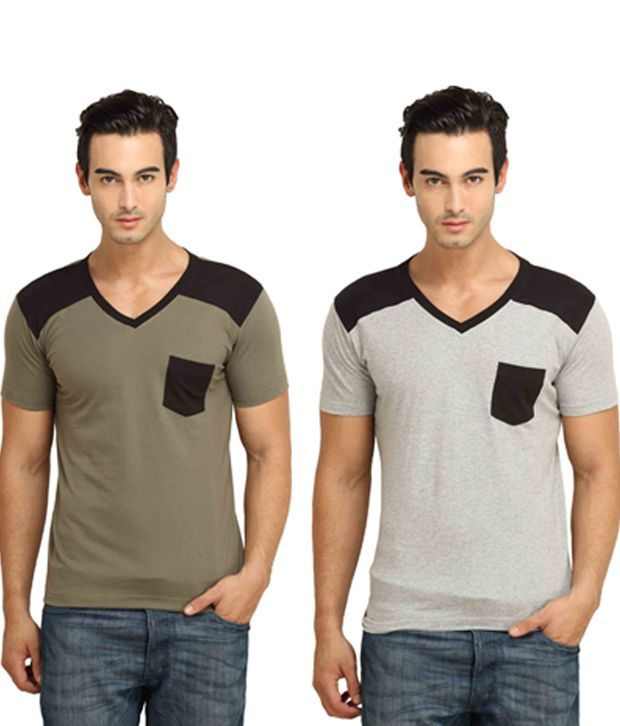 FIO Combo of 2 Multicolor Cotton T-Shirts