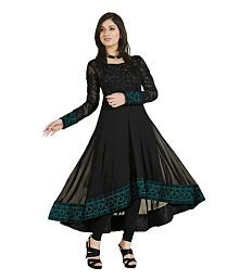 Laxmikrupa Fashion Black Net Anarkali Semi-Stitched Suit