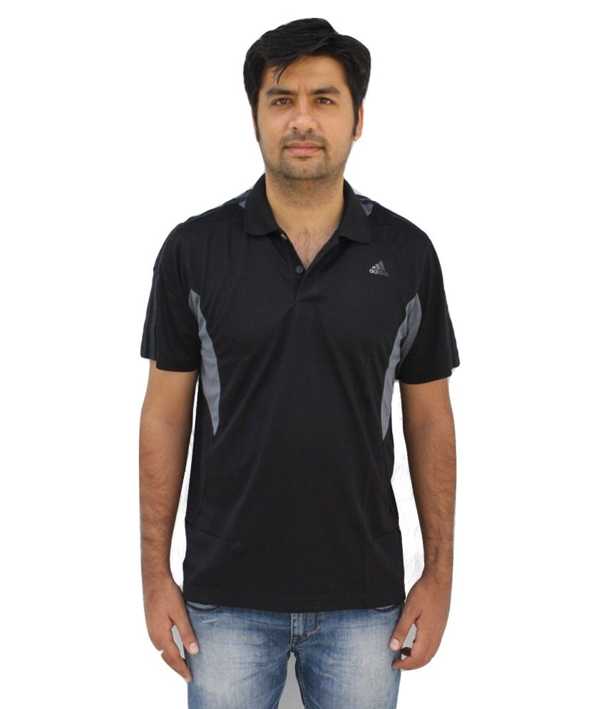 Adidas Black Half Sleeves Polo T-Shirt