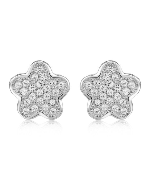 Om Jewells 92.5 Sterling Silver Cubic Zirconia Studs