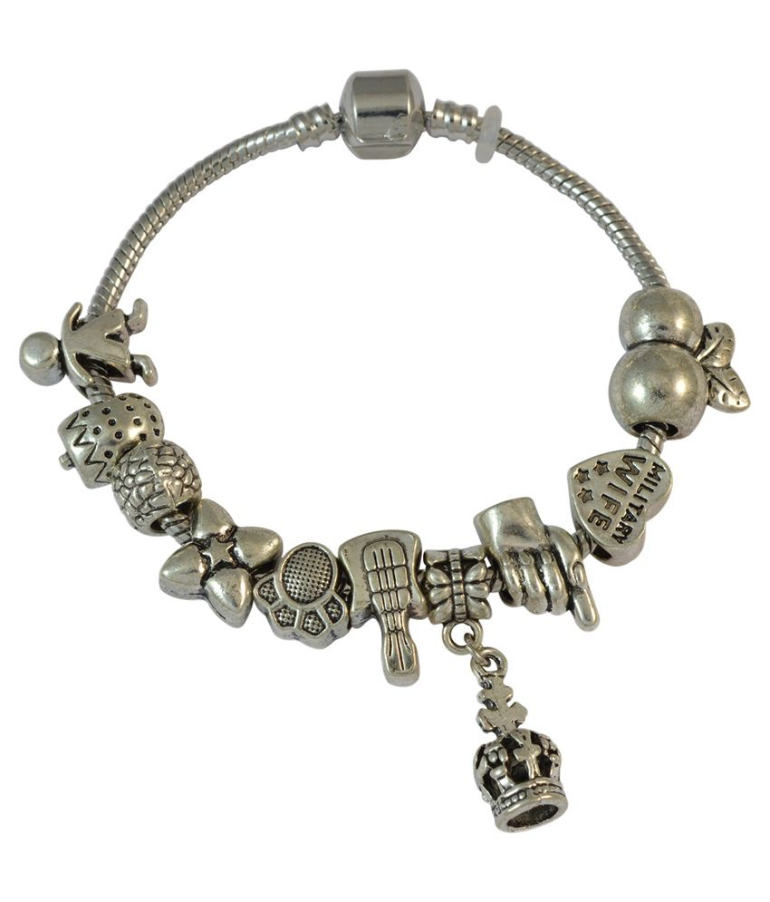 Sarah Silver Designer Charm Bracelet