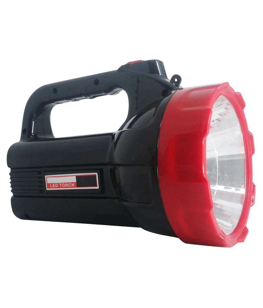 Vrct Virgin Plastic Torch With Led Rechargable Emergency Light Black & Red