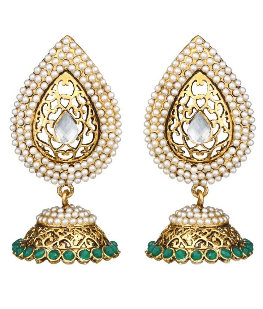 Zaveri Pearls White Alloy Jhumkis
