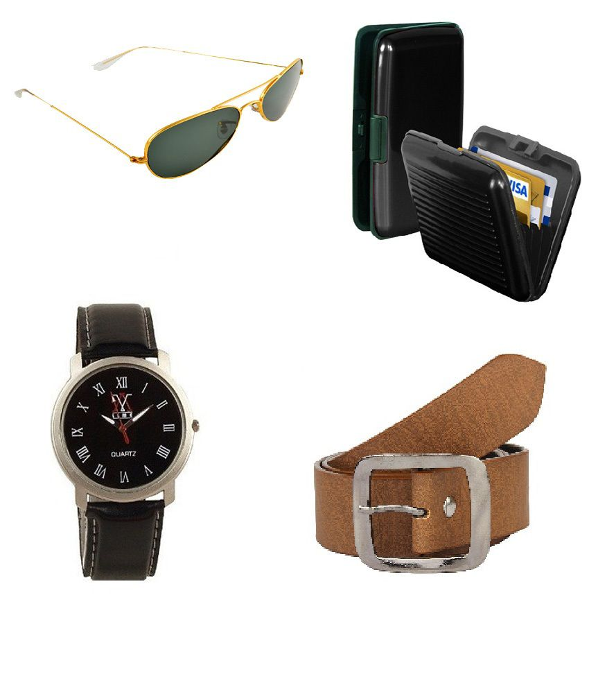 lime Combo Of Brown Casual Belt For Men With Cardholder, Watch And Sunglass