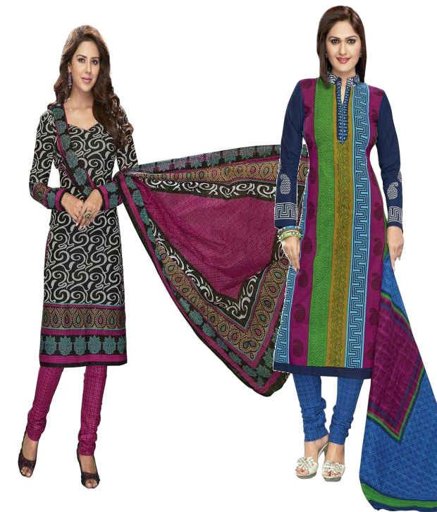 SuitsOn Multicoloured Cotton Printed Dress Material (Pack of 2)