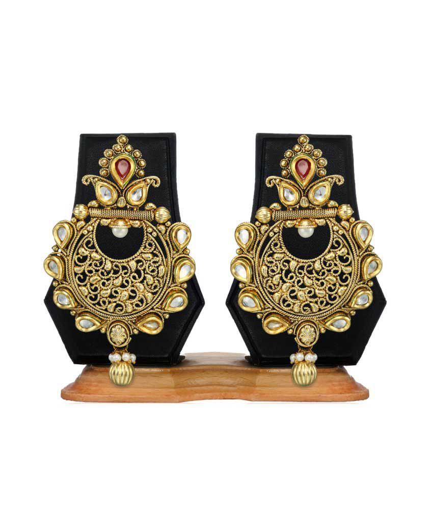 Zaveri Pearls Golden Alloy Chandeliers