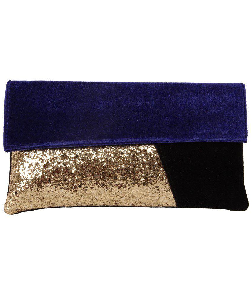 Lizzie Purple & Golden Contemporary Clutch