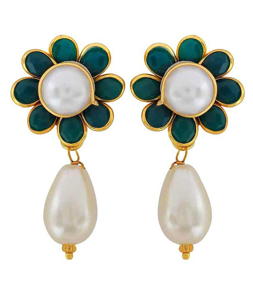 Maayra Green Brass Drop Earrings