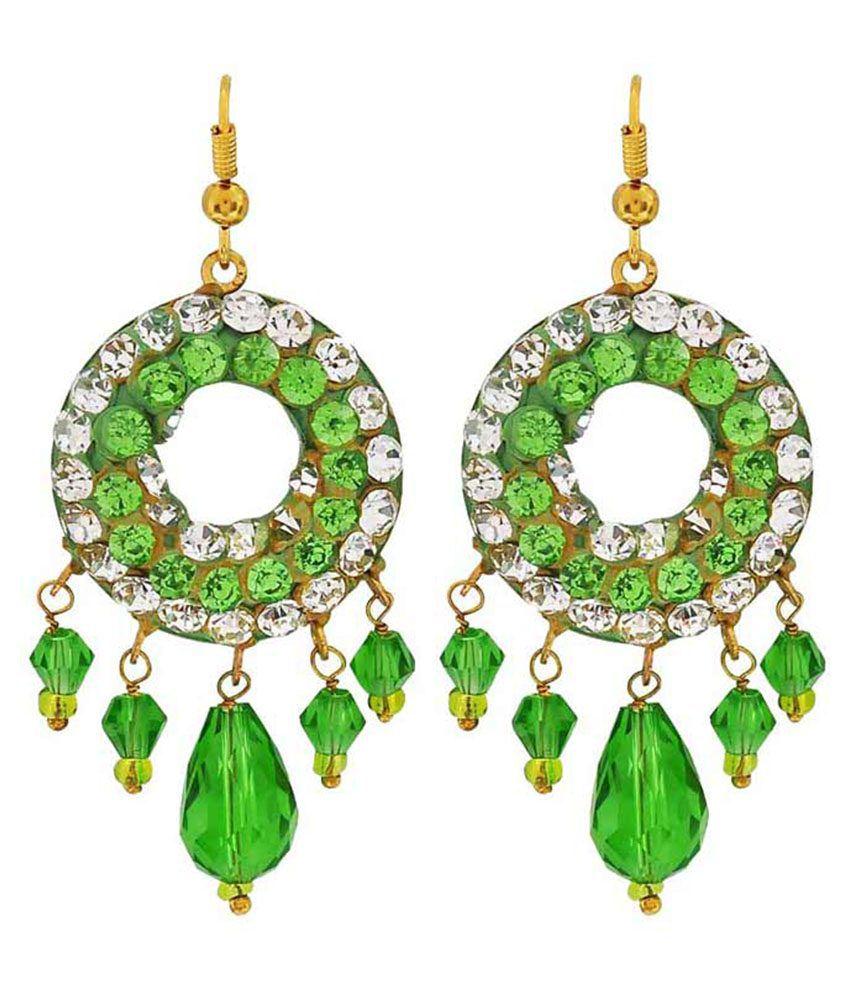 Maayra Green Brass Hanging Earrings