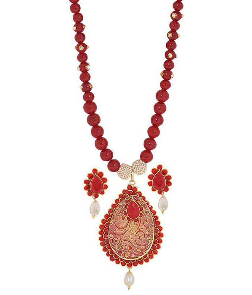 Maayra Multicolour Brass Necklace Set