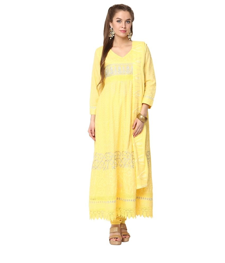 Yepme Zista Yellow and Silver Kurti Set (Pack of 3)