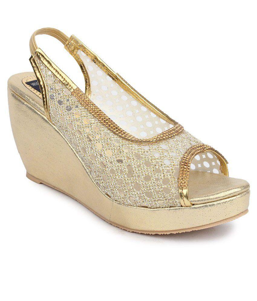 Sindhi Footwear Gold Wedge Heels