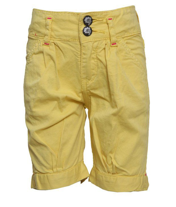 Tales & Stories Yellow Solids Cotton Capris