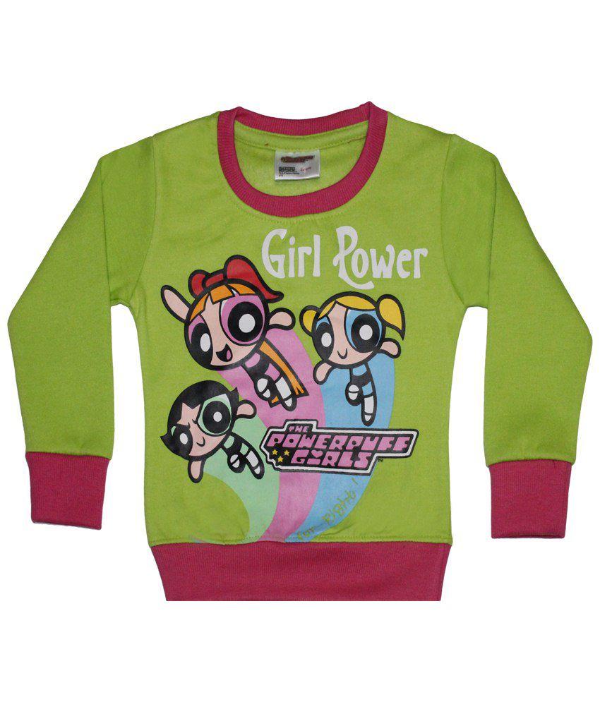 Power Puff Girls Green & Pink Full Sleeve Sweatshirt