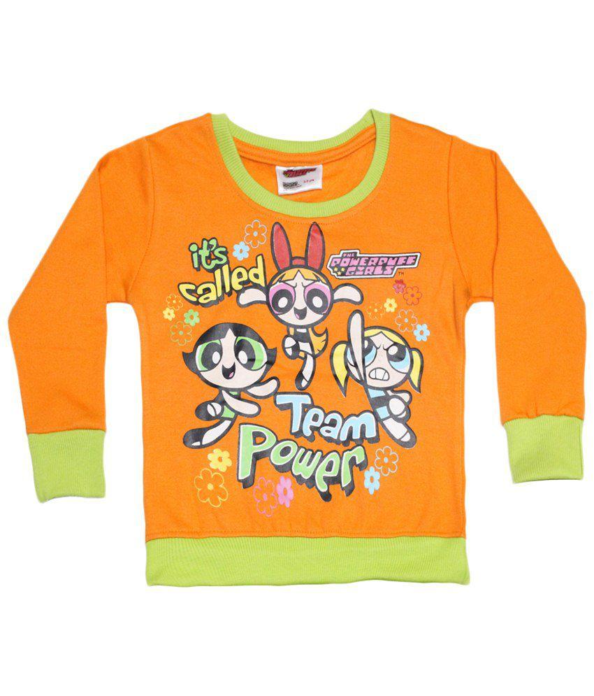 Power Puff Girls Orange & Green Full Sleeve Sweatshirt